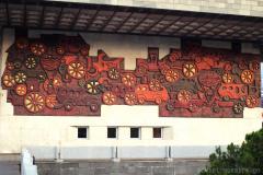 "mosaic by Zurab Tsereteli ""history of transport"" (1972), ortachala bus station"